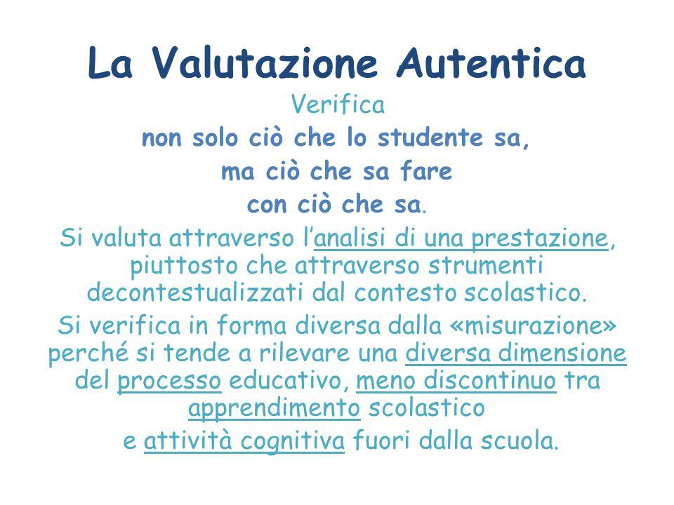 La Valutazione Autentica Verifica non solo ciò che lo studente sa, ma ciò che sa fare con ciò che sa. Si valuta attraverso l'analisi di una prestazion