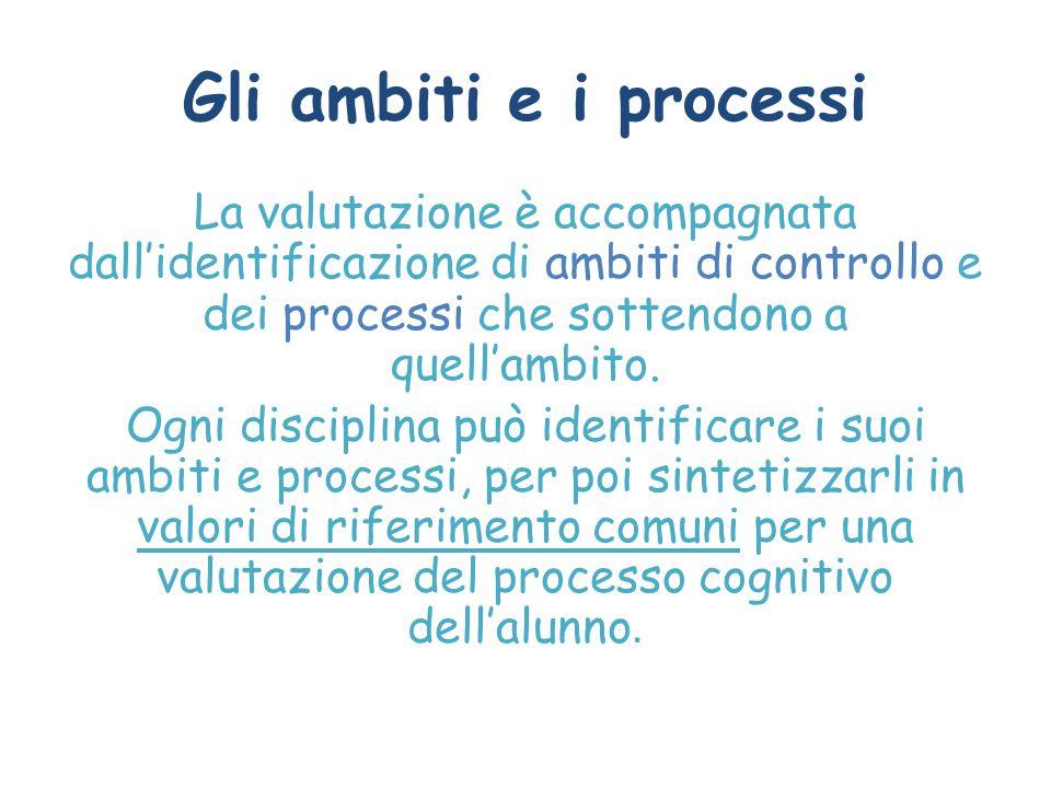 Gli ambiti e i processi La valutazione è accompagnata dall'identificazione di ambiti di controllo e dei processi che sottendono a quell'ambito. Ogni d