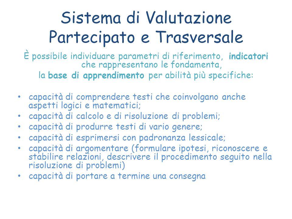 Sistema di Valutazione Partecipato e Trasversale È possibile individuare parametri di riferimento, indicatori che rappresentano le fondamenta, la base