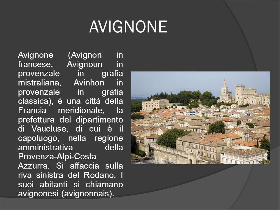 AVIGNONE Avignone (Avignon in francese, Avignoun in provenzale in grafia mistraliana, Avinhon in provenzale in grafia classica), è una città della Fra
