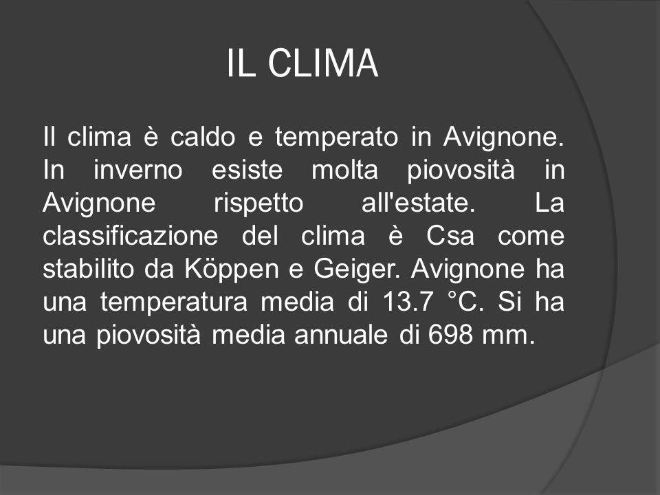 IL CLIMA Il clima è caldo e temperato in Avignone. In inverno esiste molta piovosità in Avignone rispetto all'estate. La classificazione del clima è C