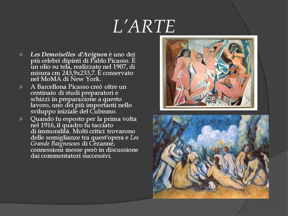 L'ARTE  Les Demoiselles d'Avignon è uno dei più celebri dipinti di Pablo Picasso. È un olio su tela, realizzato nel 1907, di misura cm 243,9x233,7. È