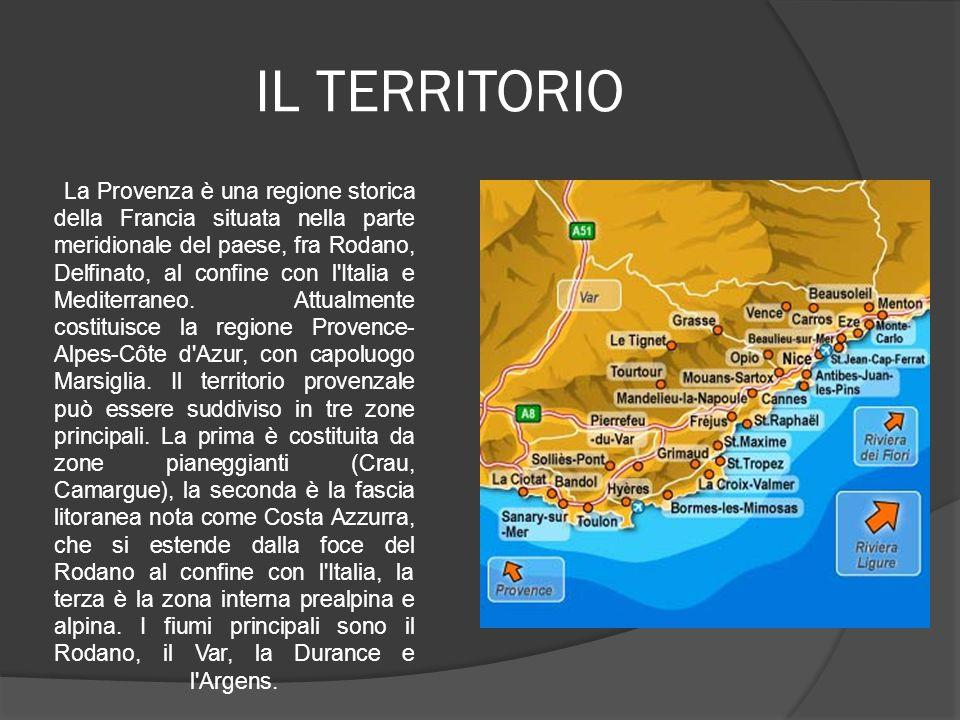 IL TERRITORIO La Provenza è una regione storica della Francia situata nella parte meridionale del paese, fra Rodano, Delfinato, al confine con l'Itali