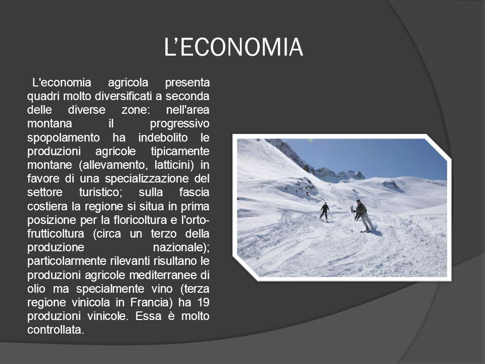 L'ECONOMIA L'economia agricola presenta quadri molto diversificati a seconda delle diverse zone: nell'area montana il progressivo spopolamento ha inde