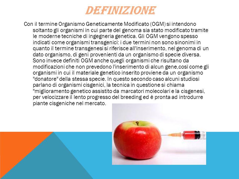 DEFINIZIONE Con il termine Organismo Geneticamente Modificato (OGM) si intendono soltanto gli organismi in cui parte del genoma sia stato modificato t