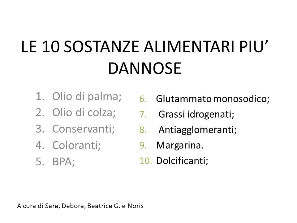 LE 10 SOSTANZE ALIMENTARI PIU' DANNOSE 1.Olio di palma; 2.Olio di colza; 3.Conservanti; 4.Coloranti; 5.BPA; 6.