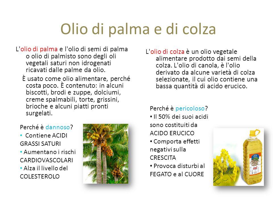 Olio di palma e di colza L olio di palma e l olio di semi di palma o olio di palmisto sono degli oli vegetali saturi non idrogenati ricavati dalle palme da olio.