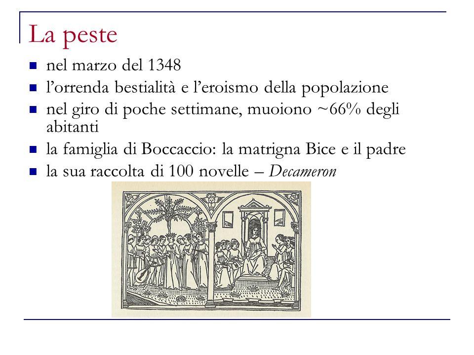 La peste nel marzo del 1348 l'orrenda bestialità e l'eroismo della popolazione nel giro di poche settimane, muoiono ~66% degli abitanti la famiglia di
