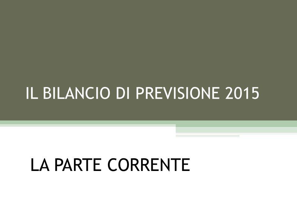 IL BILANCIO DI PREVISIONE 2015 LA PARTE CORRENTE