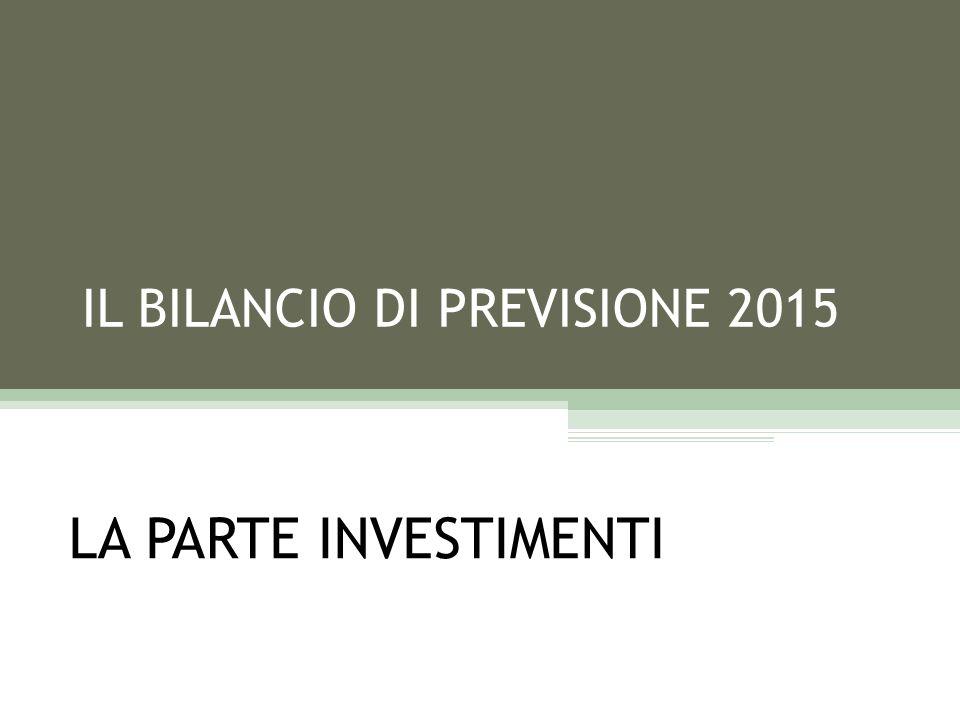 IL BILANCIO DI PREVISIONE 2015 LA PARTE INVESTIMENTI