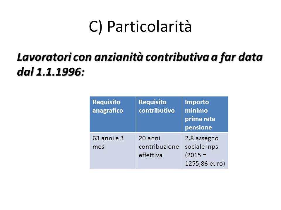 C) Particolarità Lavoratori con anzianità contributiva a far data dal 1.1.1996: Requisito anagrafico Requisito contributivo Importo minimo prima rata