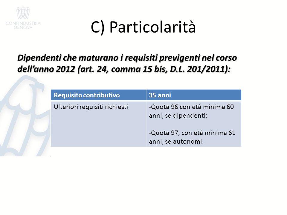 C) Particolarità Dipendenti che maturano i requisiti previgenti nel corso dell'anno 2012 (art. 24, comma 15 bis, D.L. 201/2011): Requisito contributiv