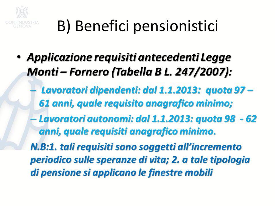 B) Benefici pensionistici Applicazione requisiti antecedenti Legge Monti – Fornero (Tabella B L. 247/2007): Applicazione requisiti antecedenti Legge M