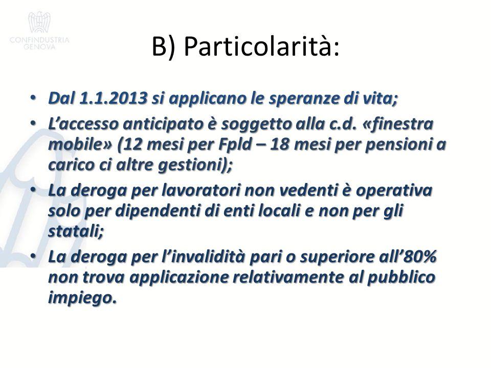 B) Particolarità: Dal 1.1.2013 si applicano le speranze di vita; Dal 1.1.2013 si applicano le speranze di vita; L'accesso anticipato è soggetto alla c