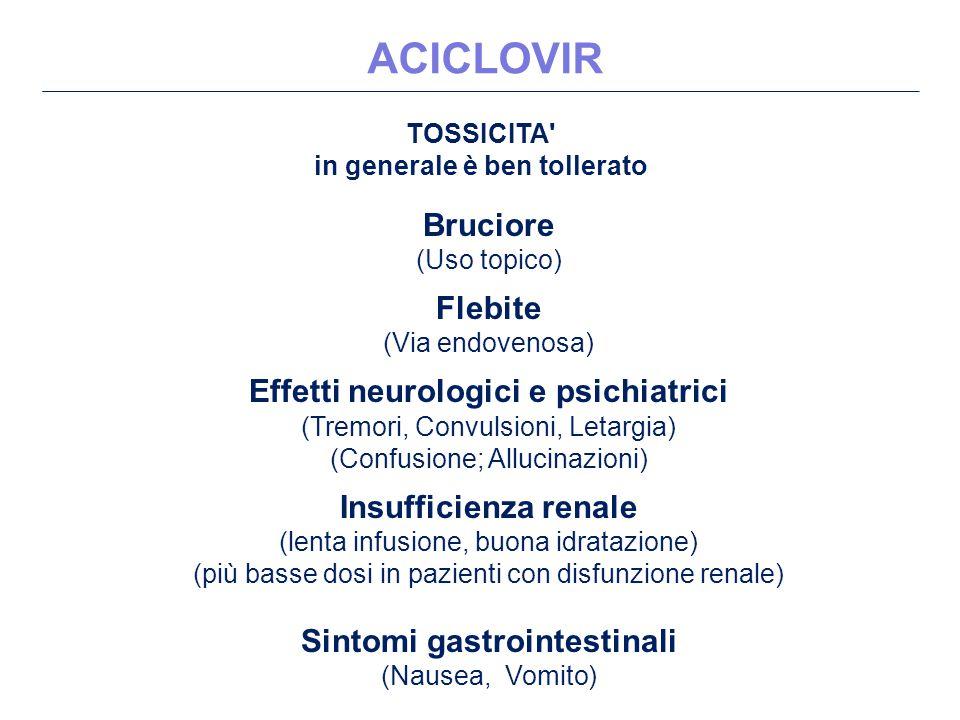 TOSSICITA in generale è ben tollerato Bruciore (Uso topico) Flebite (Via endovenosa) Effetti neurologici e psichiatrici (Tremori, Convulsioni, Letargia) (Confusione; Allucinazioni) Insufficienza renale (lenta infusione, buona idratazione) (più basse dosi in pazienti con disfunzione renale) Sintomi gastrointestinali (Nausea, Vomito) ACICLOVIR
