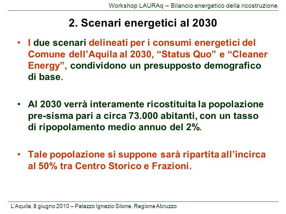 L'Aquila, 8 giugno 2010 – Palazzo Ignazio Silone, Regione Abruzzo Workshop LAURAq – Bilancio energetico della ricostruzione I due scenari delineati pe