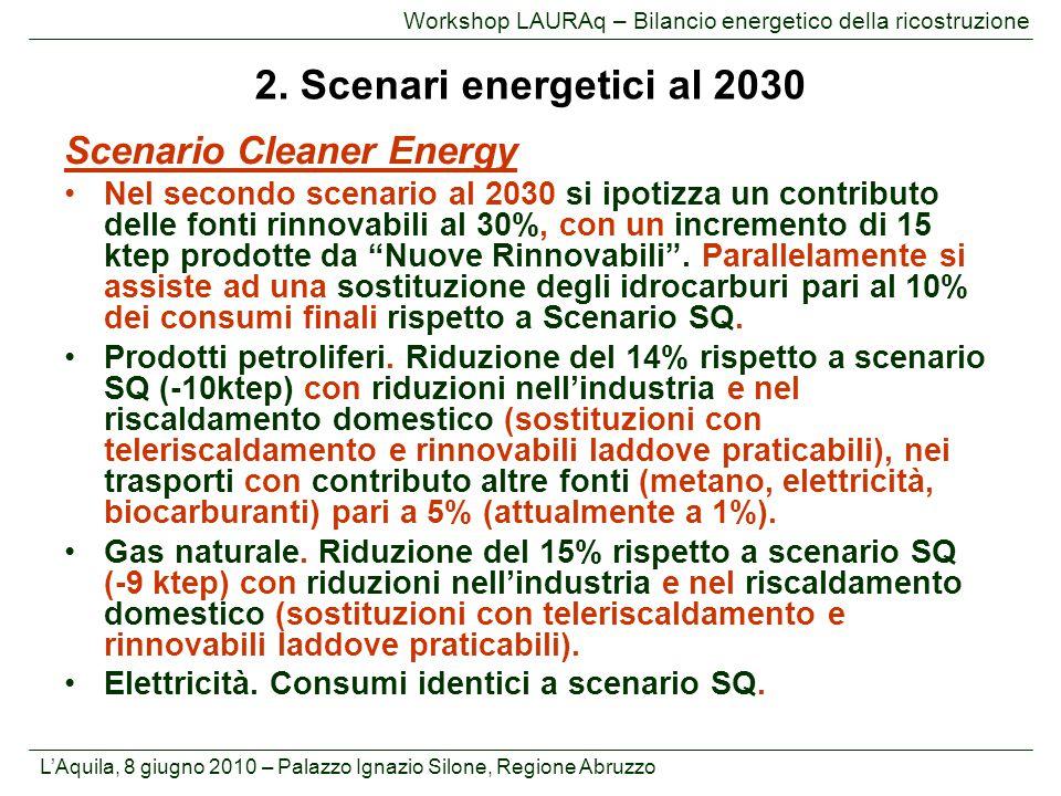 L'Aquila, 8 giugno 2010 – Palazzo Ignazio Silone, Regione Abruzzo Workshop LAURAq – Bilancio energetico della ricostruzione Scenario Cleaner Energy Ne