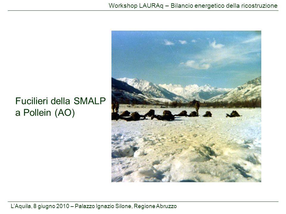 L'Aquila, 8 giugno 2010 – Palazzo Ignazio Silone, Regione Abruzzo Workshop LAURAq – Bilancio energetico della ricostruzione Fucilieri della SMALP a Po