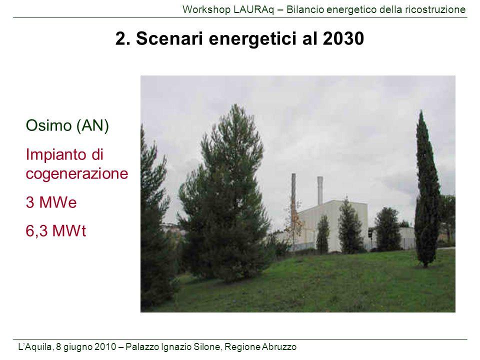 L'Aquila, 8 giugno 2010 – Palazzo Ignazio Silone, Regione Abruzzo Workshop LAURAq – Bilancio energetico della ricostruzione Osimo (AN) Impianto di cog