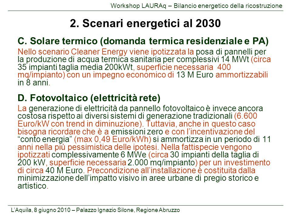 L'Aquila, 8 giugno 2010 – Palazzo Ignazio Silone, Regione Abruzzo Workshop LAURAq – Bilancio energetico della ricostruzione C. Solare termico (domanda