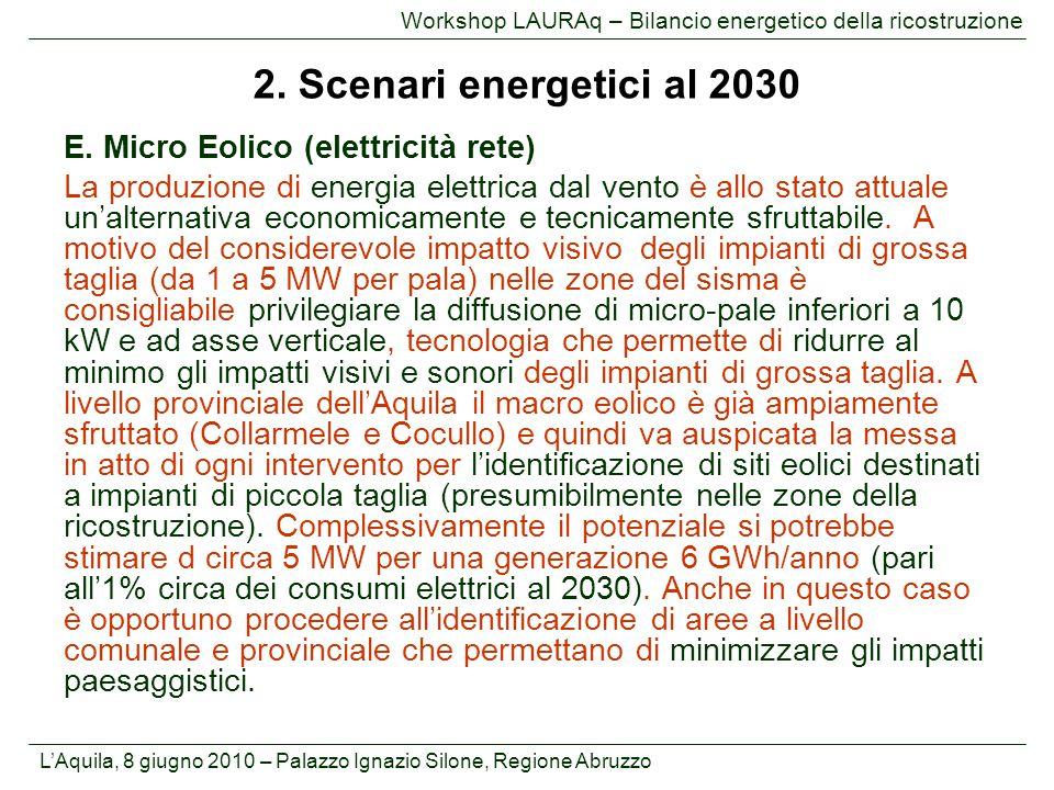 L'Aquila, 8 giugno 2010 – Palazzo Ignazio Silone, Regione Abruzzo Workshop LAURAq – Bilancio energetico della ricostruzione E. Micro Eolico (elettrici