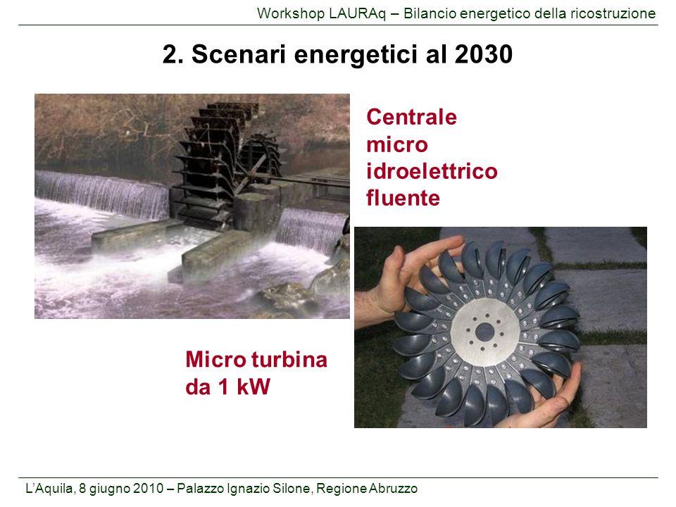 L'Aquila, 8 giugno 2010 – Palazzo Ignazio Silone, Regione Abruzzo Workshop LAURAq – Bilancio energetico della ricostruzione 2. Scenari energetici al 2