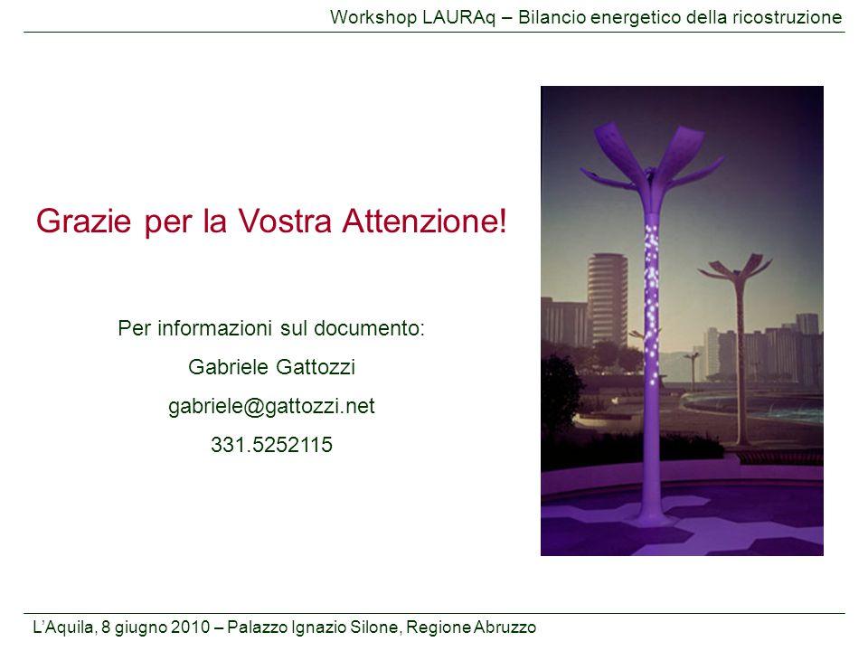 L'Aquila, 8 giugno 2010 – Palazzo Ignazio Silone, Regione Abruzzo Workshop LAURAq – Bilancio energetico della ricostruzione Grazie per la Vostra Atten