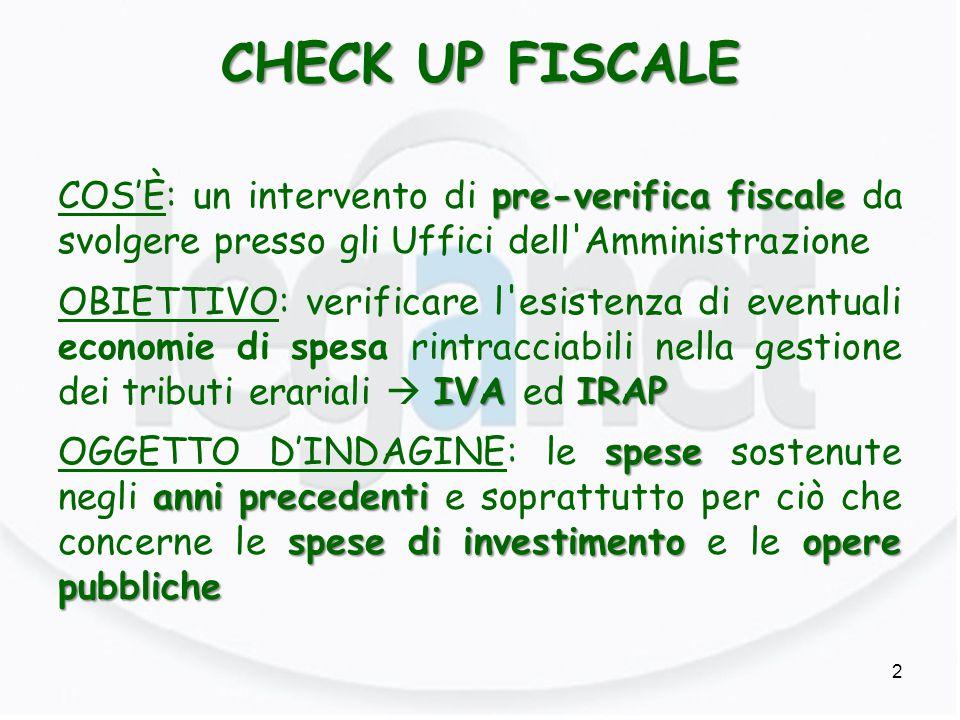 CHECK UP FISCALE pre-verifica fiscale COS'È: un intervento di pre-verifica fiscale da svolgere presso gli Uffici dell'Amministrazione IVA IRAP OBIETTI