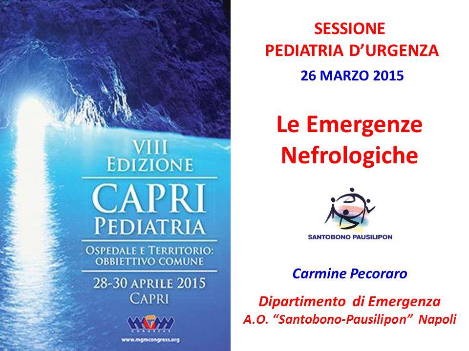 """SESSIONE PEDIATRIA D'URGENZA 26 MARZO 2015 Le Emergenze Nefrologiche Carmine Pecoraro Dipartimento di Emergenza A.O. """"Santobono-Pausilipon"""" Napoli"""