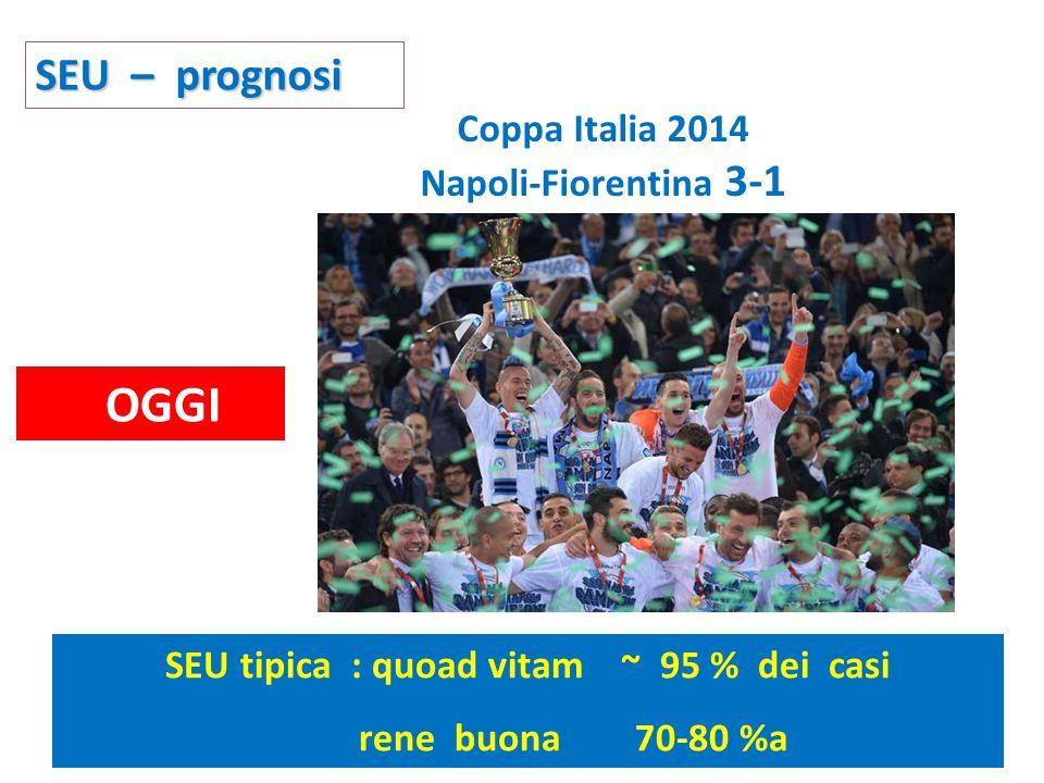 SEU – prognosi SEU tipica : quoad vitam ~ 95 % dei casi rene buona 70-80 %a OGGI Coppa Italia 2014 Napoli-Fiorentina 3-1