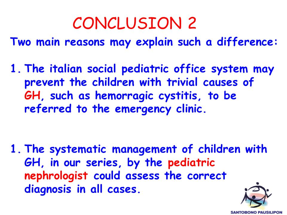 CONCLUSION 2 Two main reasons may explain such a difference: 1.The italian social pediatric office system may prevent the children with trivial causes