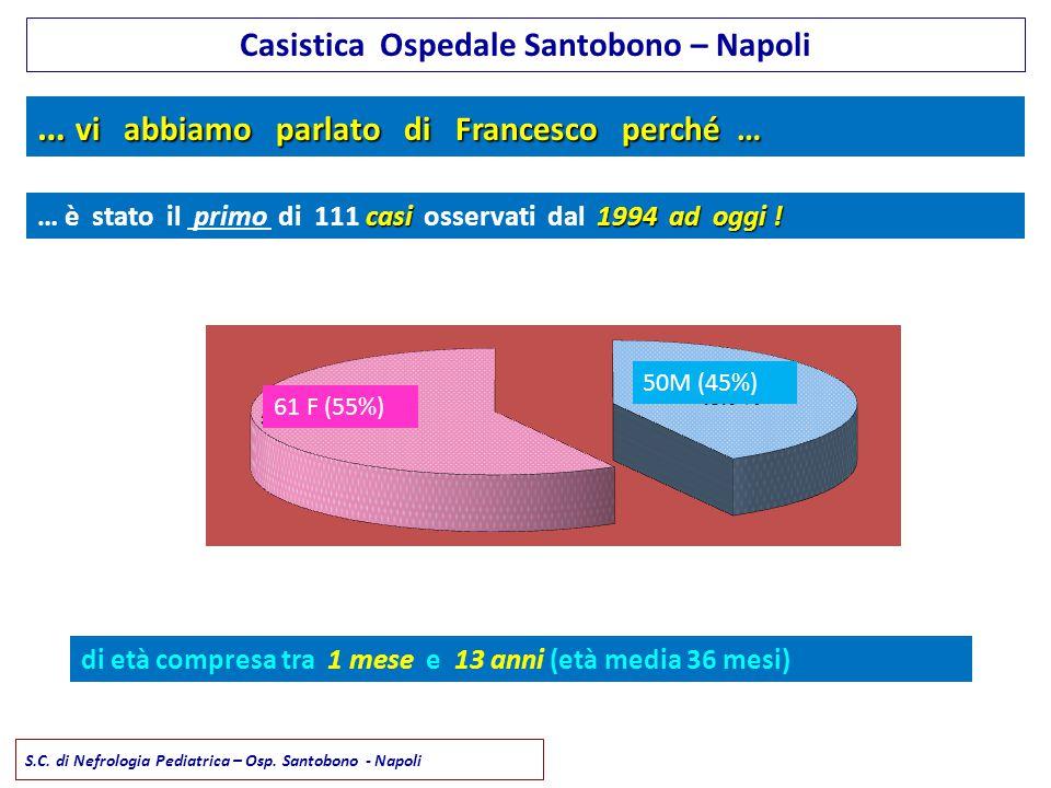 … vi abbiamo parlato di Francesco perché … di età compresa tra 1 mese e 13 anni (età media 36 mesi) casi1994 ad oggi ! … è stato il primo di 111 casi
