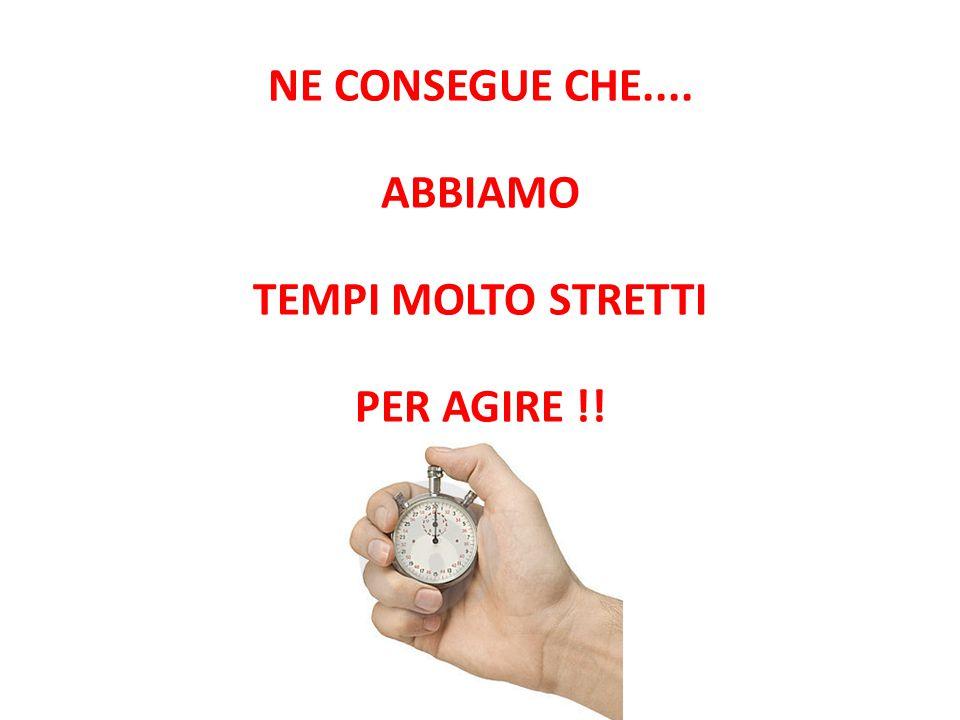 NE CONSEGUE CHE.... ABBIAMO TEMPI MOLTO STRETTI PER AGIRE !!