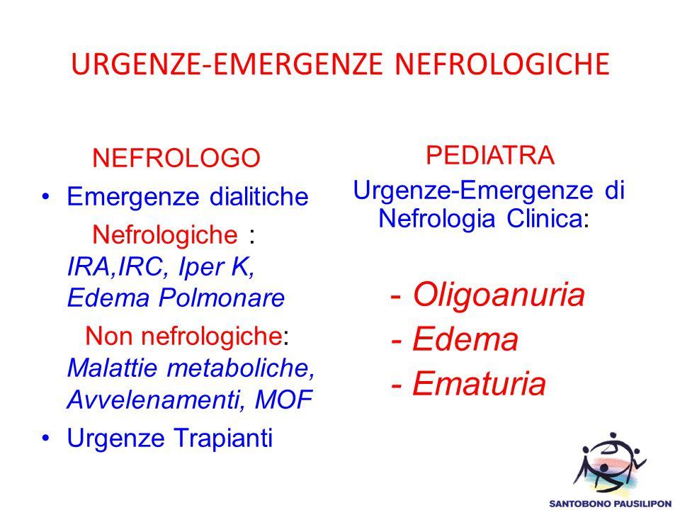 URGENZE-EMERGENZE NEFROLOGICHE NEFROLOGO Emergenze dialitiche Nefrologiche : IRA,IRC, Iper K, Edema Polmonare Non nefrologiche: Malattie metaboliche,