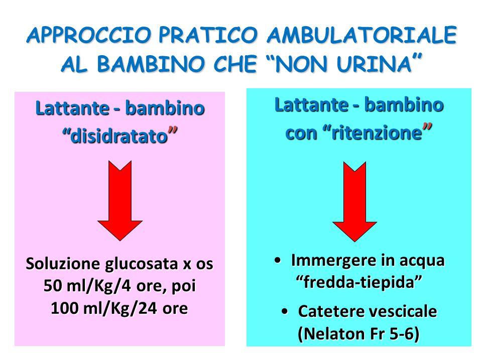 """APPROCCIO PRATICO AMBULATORIALE AL BAMBINO CHE """"NON URINA """" Lattante - bambino """"disidratato """" Soluzione glucosata x os 50 ml/Kg/4 ore, poi 100 ml/Kg/2"""