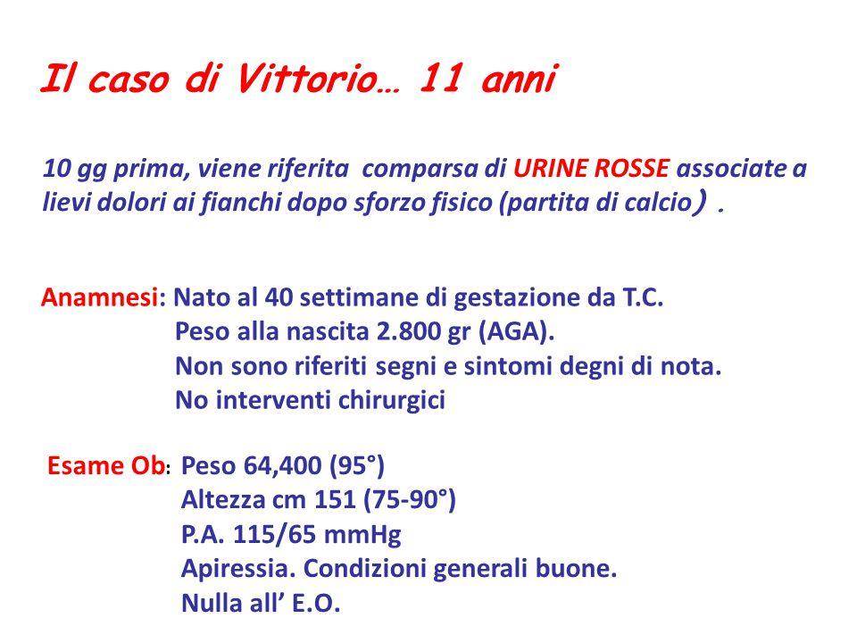 Il caso di Vittorio… 11 anni Anamnesi: Nato al 40 settimane di gestazione da T.C. Peso alla nascita 2.800 gr (AGA). Non sono riferiti segni e sintomi