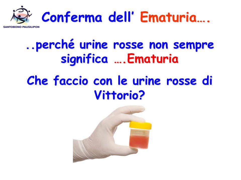 ..perché urine rosse non sempre significa ….Ematuria Che faccio con le urine rosse di Vittorio? Conferma dell' Ematuria….