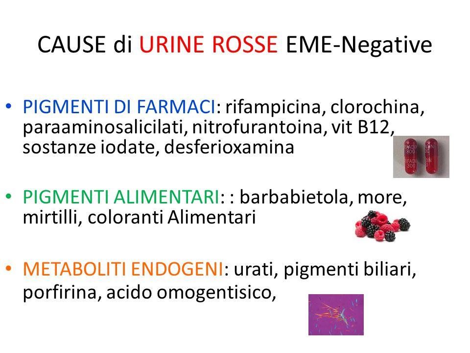 CAUSE di URINE ROSSE EME-Negative PIGMENTI DI FARMACI: rifampicina, clorochina, paraaminosalicilati, nitrofurantoina, vit B12, sostanze iodate, desfer