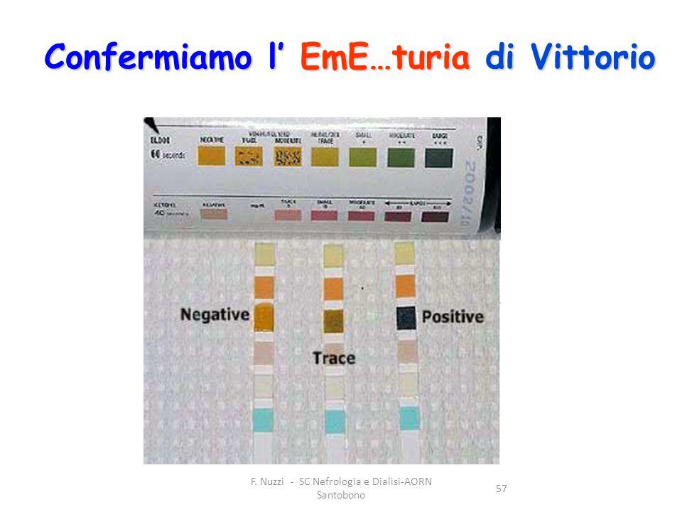 F. Nuzzi - SC Nefrologia e Dialisi-AORN Santobono 57 Confermiamo l' EmE…turia di Vittorio