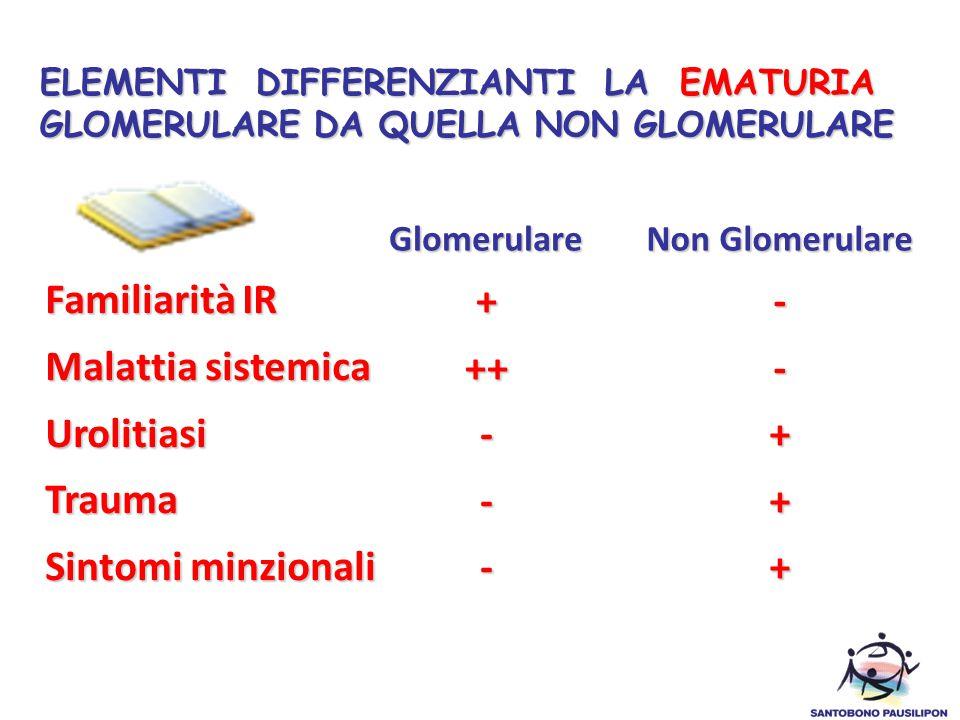 ELEMENTI DIFFERENZIANTI LA EMATURIA GLOMERULARE DA QUELLA NON GLOMERULARE Familiarità IR Malattia sistemica UrolitiasiTrauma Sintomi minzionali Glomer