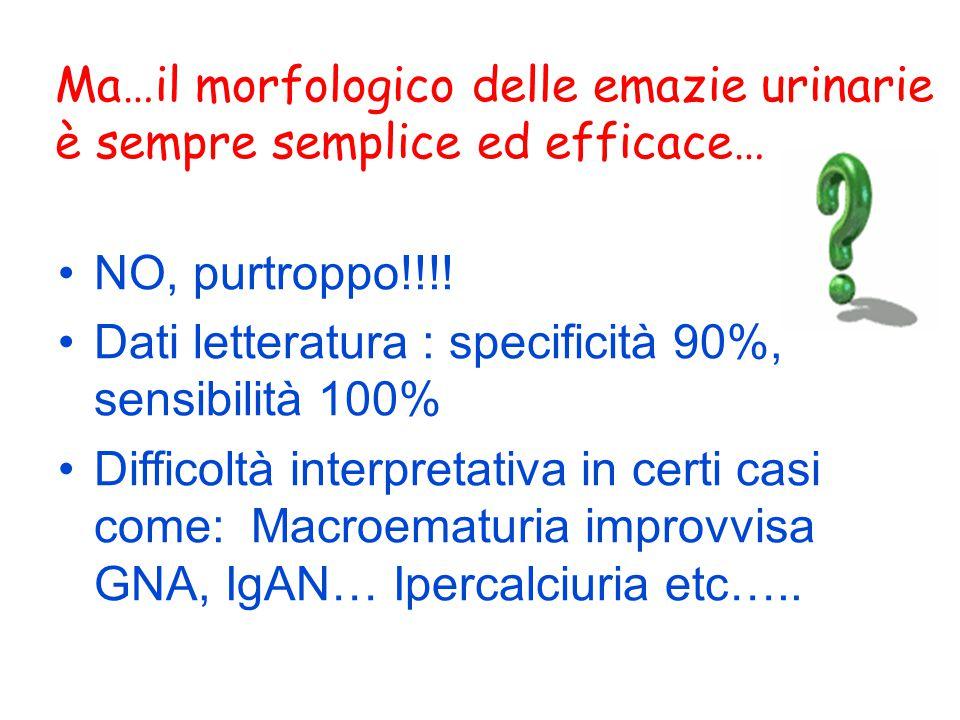 Ma…il morfologico delle emazie urinarie è sempre semplice ed efficace… NO, purtroppo!!!! Dati letteratura : specificità 90%, sensibilità 100% Difficol
