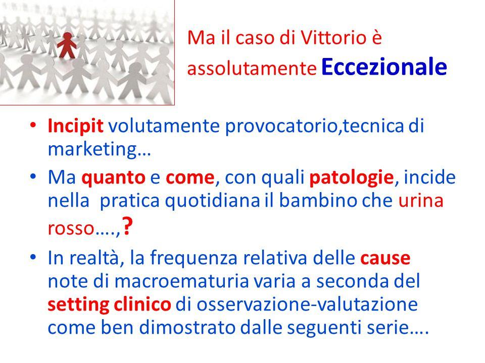 Ma il caso di Vittorio è assolutamente Eccezionale Incipit volutamente provocatorio,tecnica di marketing… Ma quanto e come, con quali patologie, incid