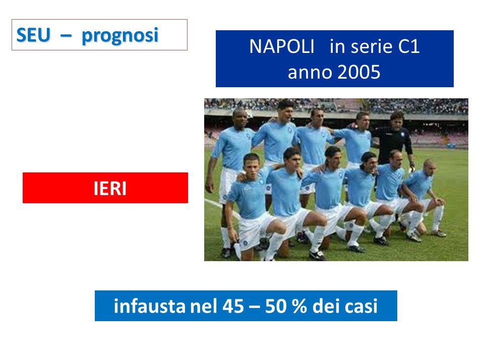NAPOLI in serie C1 anno 2005 infausta nel 45 – 50 % dei casi SEU – prognosi IERI