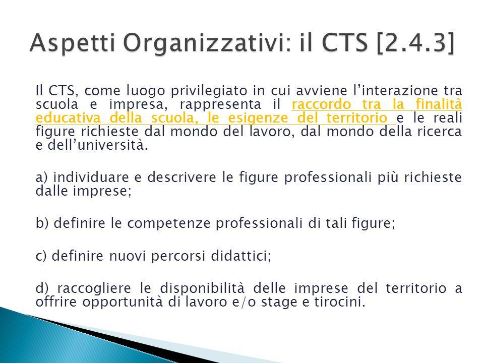 Il CTS, come luogo privilegiato in cui avviene l'interazione tra scuola e impresa, rappresenta il raccordo tra la finalità educativa della scuola, le esigenze del territorio e le reali figure richieste dal mondo del lavoro, dal mondo della ricerca e dell'università.