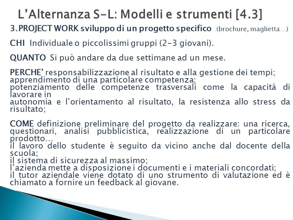 L'Alternanza S-L: Modelli e strumenti [4.3] 3.PROJECT WORK sviluppo di un progetto specifico (brochure, maglietta…) CHI Individuale o piccolissimi gruppi (2-3 giovani).