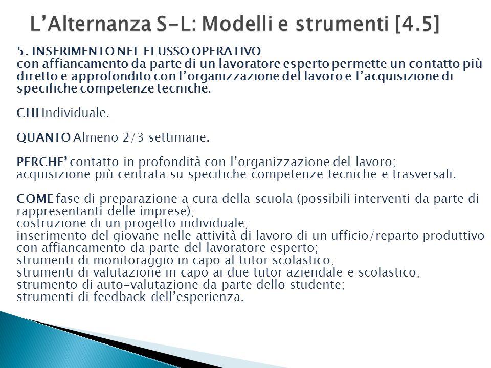 L'Alternanza S-L: Modelli e strumenti [4.5] 5.