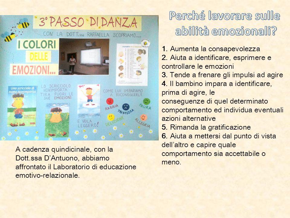 A cadenza quindicinale, con la Dott.ssa D'Antuono, abbiamo affrontato il Laboratorio di educazione emotivo-relazionale. 1. Aumenta la consapevolezza 2