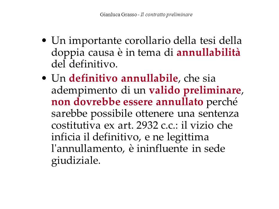 Gianluca Grasso - Il contratto preliminare Un importante corollario della tesi della doppia causa è in tema di annullabilità del definitivo. Un defini