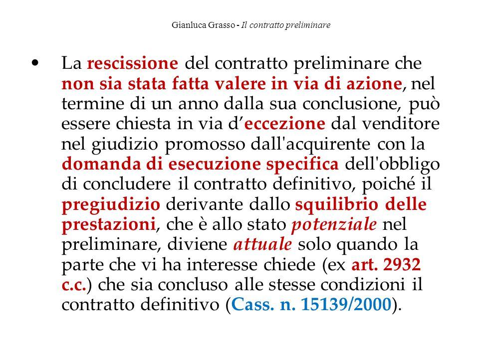 Gianluca Grasso - Il contratto preliminare La rescissione del contratto preliminare che non sia stata fatta valere in via di azione, nel termine di un