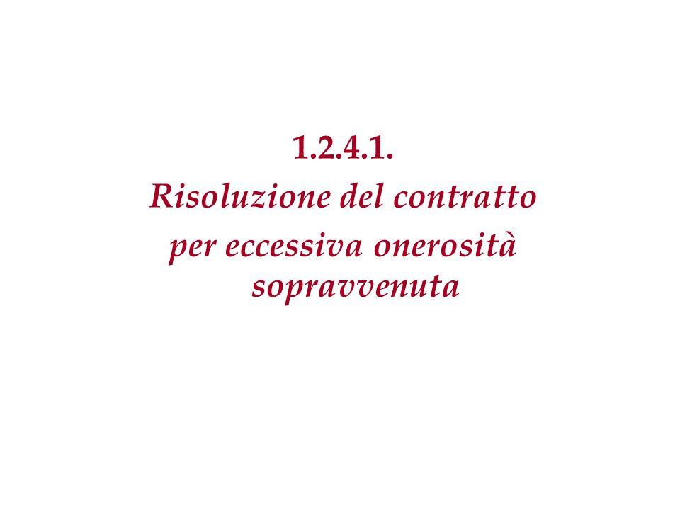 1.2.4.1. Risoluzione del contratto per eccessiva onerosità sopravvenuta